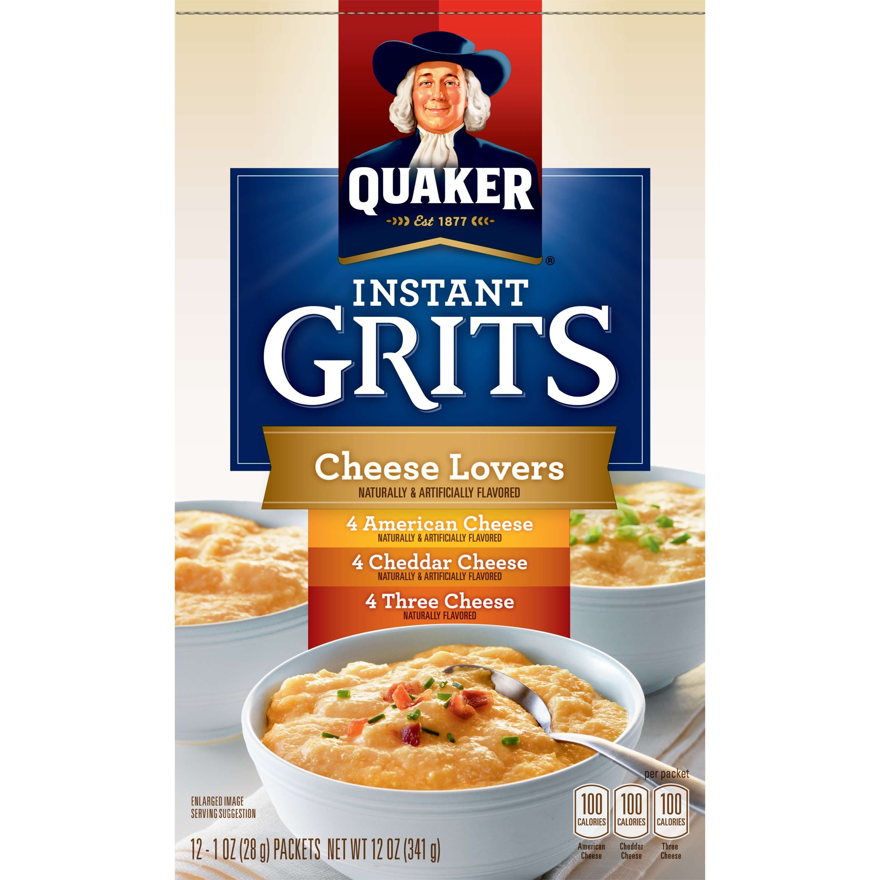 Quaker Instant Grits Cheese Lovers Variety Pack, 12 Count, 1 oz Packets