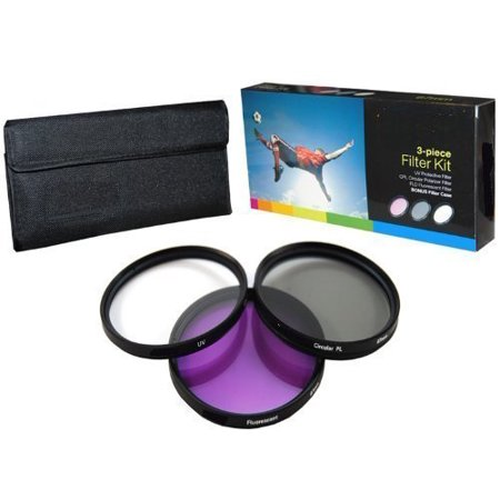Optics 52MM High Resolution 3-piece Filter Set (UV, Fluorescent, Polarizer) For The Panasonic Lumx DMC-FZ200, FZ150, FZ100, FZ40, FZ45, FZ47, FZ48 Digital Cameras,.., By PLR,USA