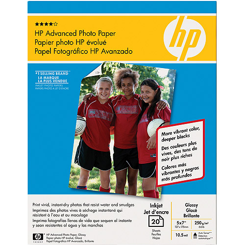 "HP Advanced Glossy Photo Paper, 20 Sheets, 5"" x 7"""