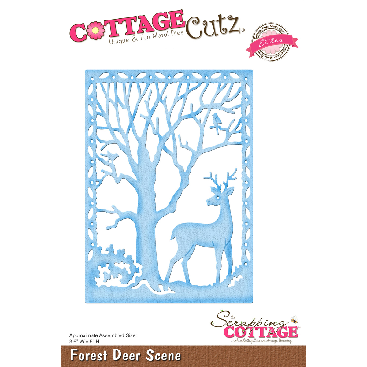 "CottageCutz Elites Die -Forest Deer Scene 3.6""X5"""