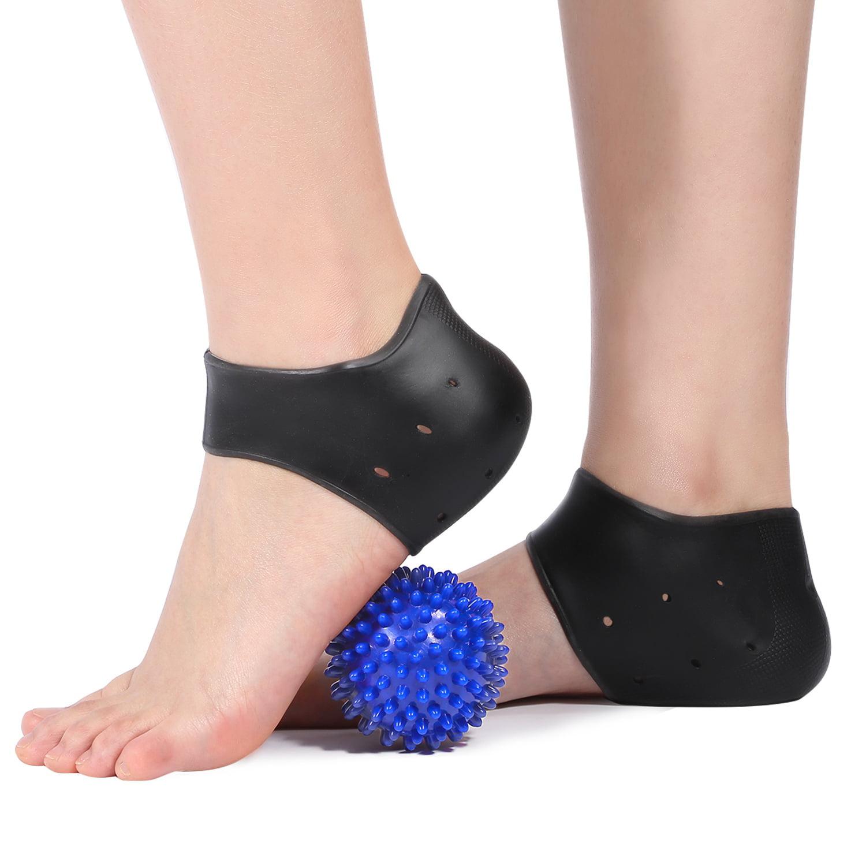 Dilwe Plantar Fasciitis Gel Heel Protectors Heel Pads Kit-5 Pieces, Heel Sleeves & Massage Ball,Plantar Fasciitis Gel, Heel Pads