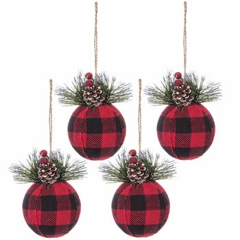 Red Black Buffalo Check Ball Ornaments Christmas Tree Holiday Home Decoration 4 Ct Walmart Com Walmart Com