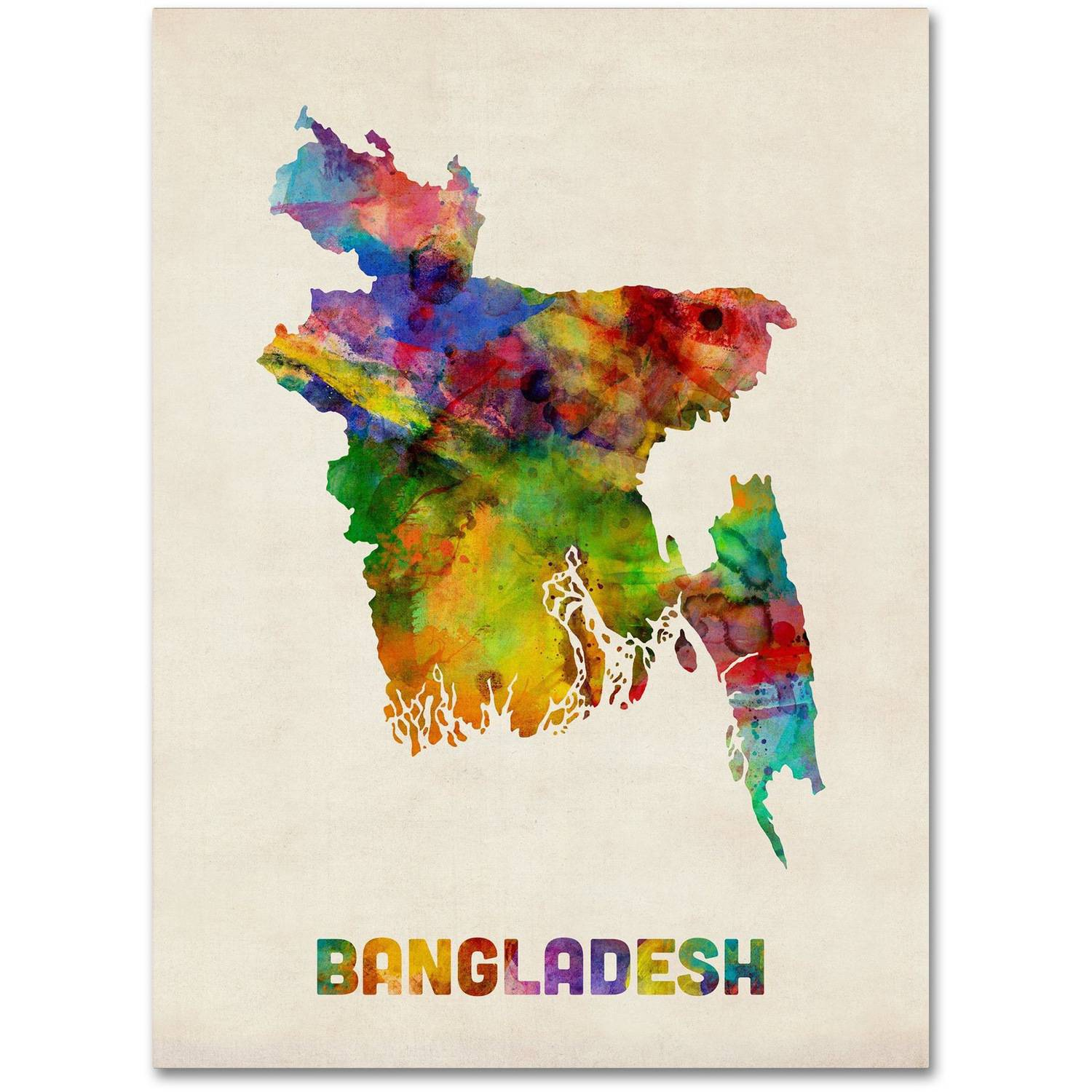 "Trademark Fine Art ""Bangladesh Watercolor Map"" Canvas Art by Michael Tompsett"