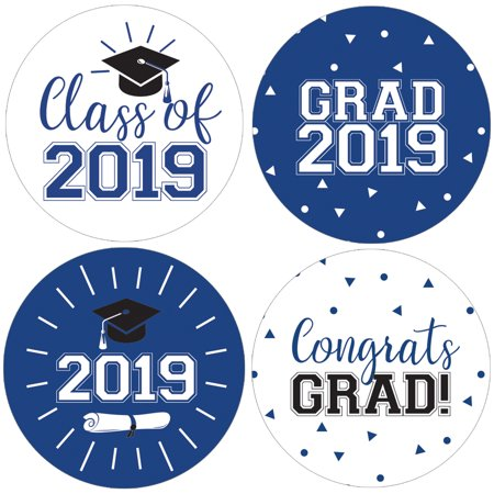 Blue Graduation Party Stickers | 40 ct | 1 3/4 inch | Class of 2019 Favor Labels