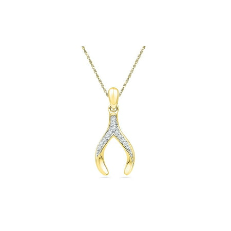 10k Yellow Gold Round Diamond Womens Wishbone Lucky Pendant 1/20 (Yellow Gold Diamond Wishbone)