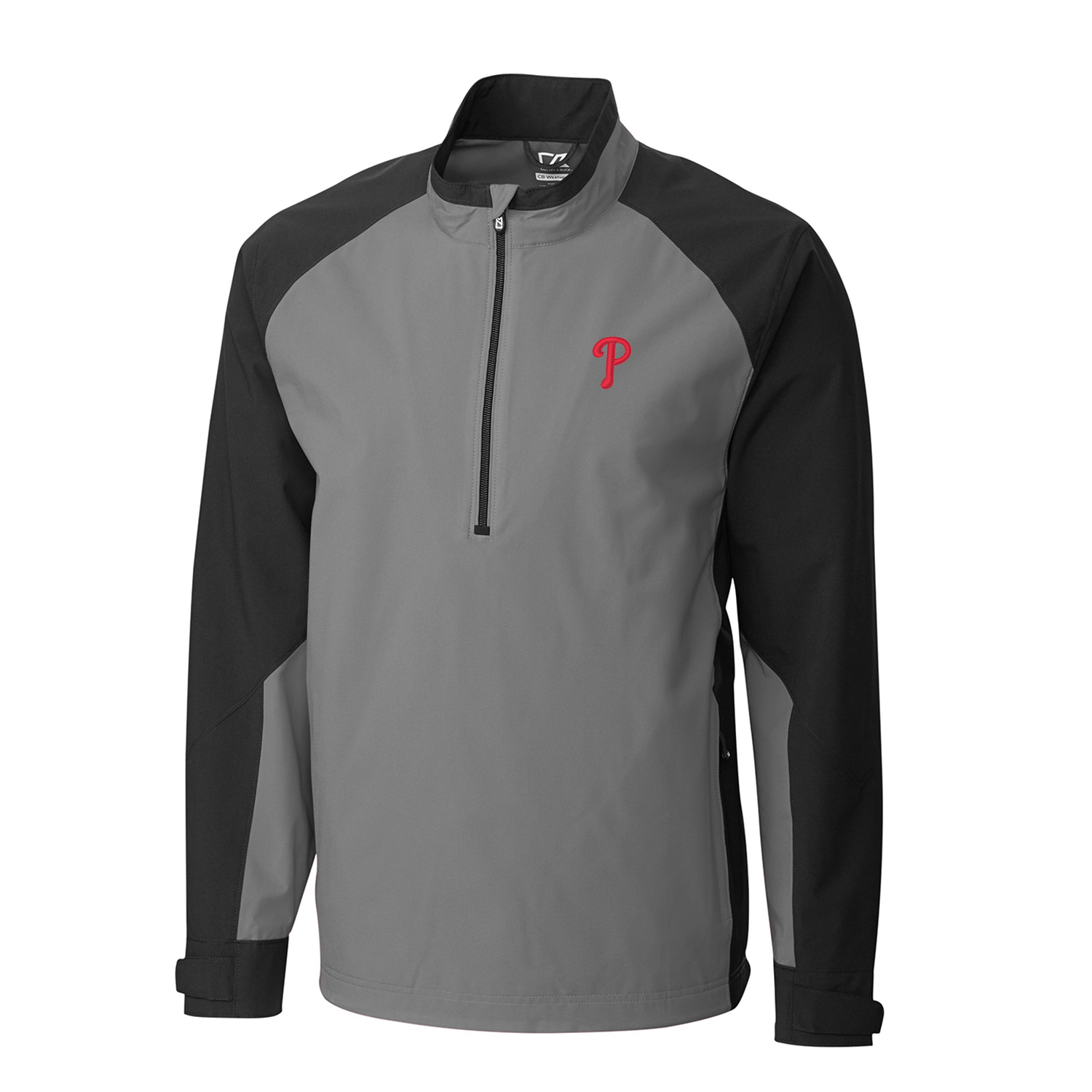 Men's Cutter & Buck Gray/Black Philadelphia Phillies Summit WeatherTec Half-Zip Pullover Jacket
