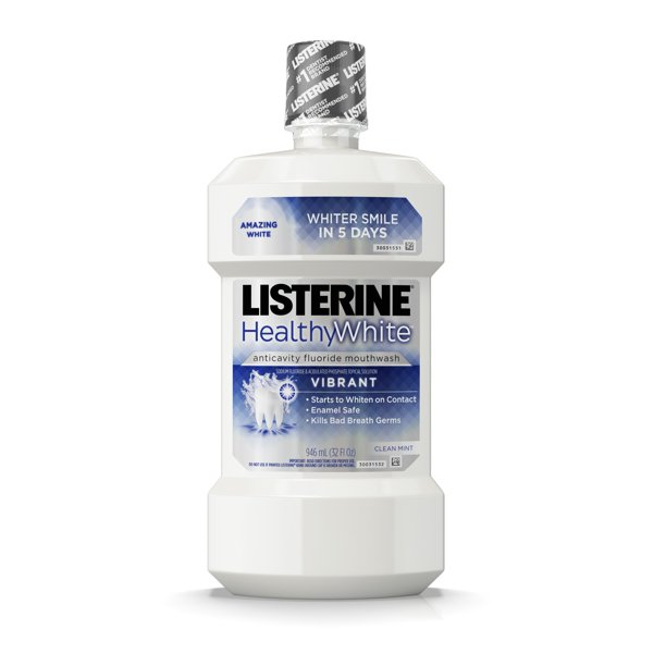 Listerine Healthy White Vibrant Multi-Action Fluoride Mouthwash For Whitening Teeth, 32 fl. oz