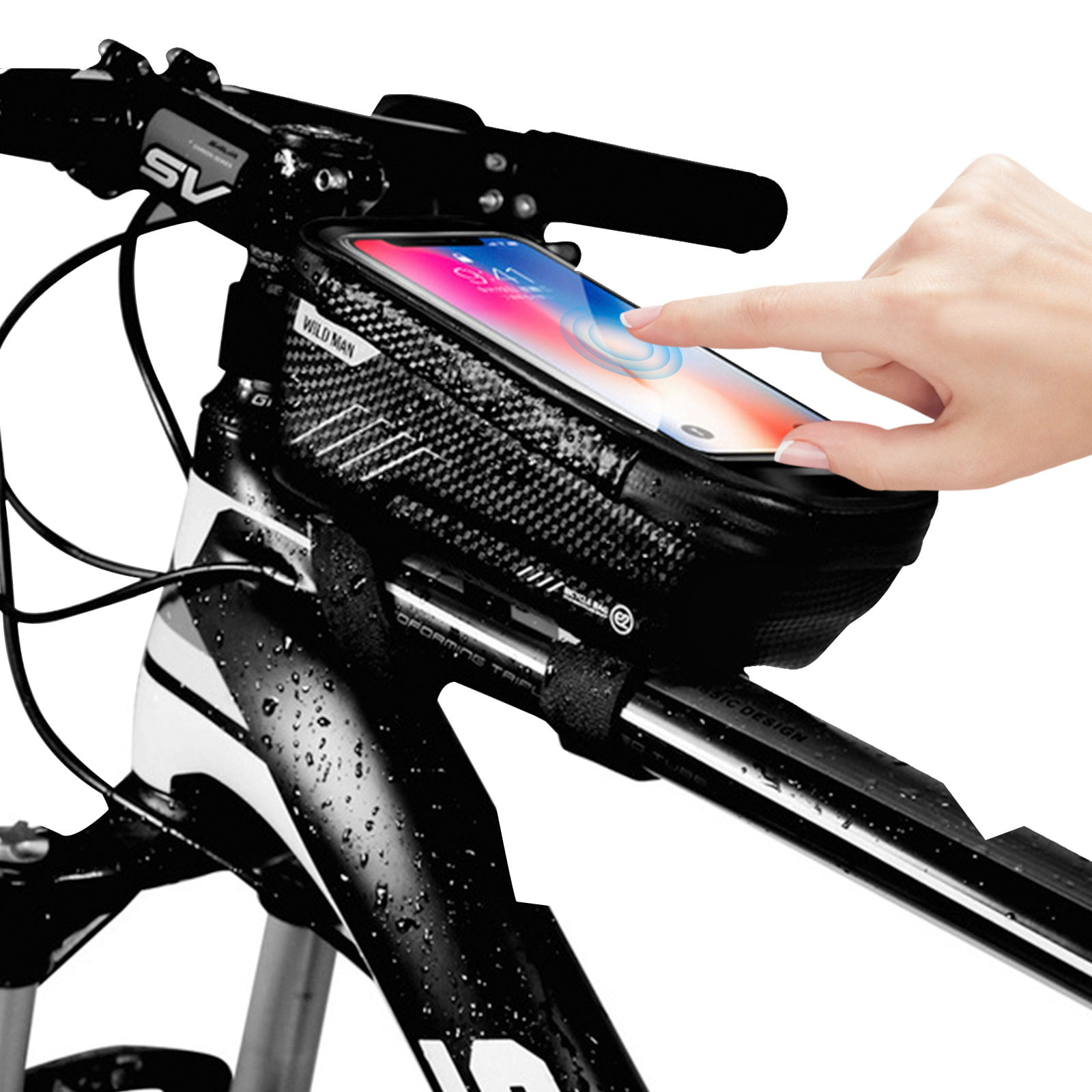 Bike Bicycle Front Tube Bag Frame Pannier Touchscreen Pouch Case For Big Phone