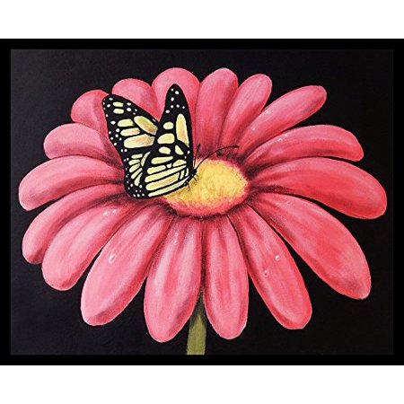 Framed Butterflys Snack By Ed Capeau 30X24 Art Print Poster Pink Flower Monarchmade In The Usa