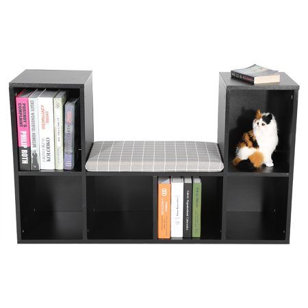 Multi-functional Storage Shelf Bookshelf Bookcase with Reading Nook Home Office Use (Black)