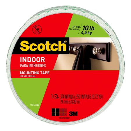 - Scotch Indoor Mounting Tape, 0.75 in. x 350 in., White, 1 Roll/Pack