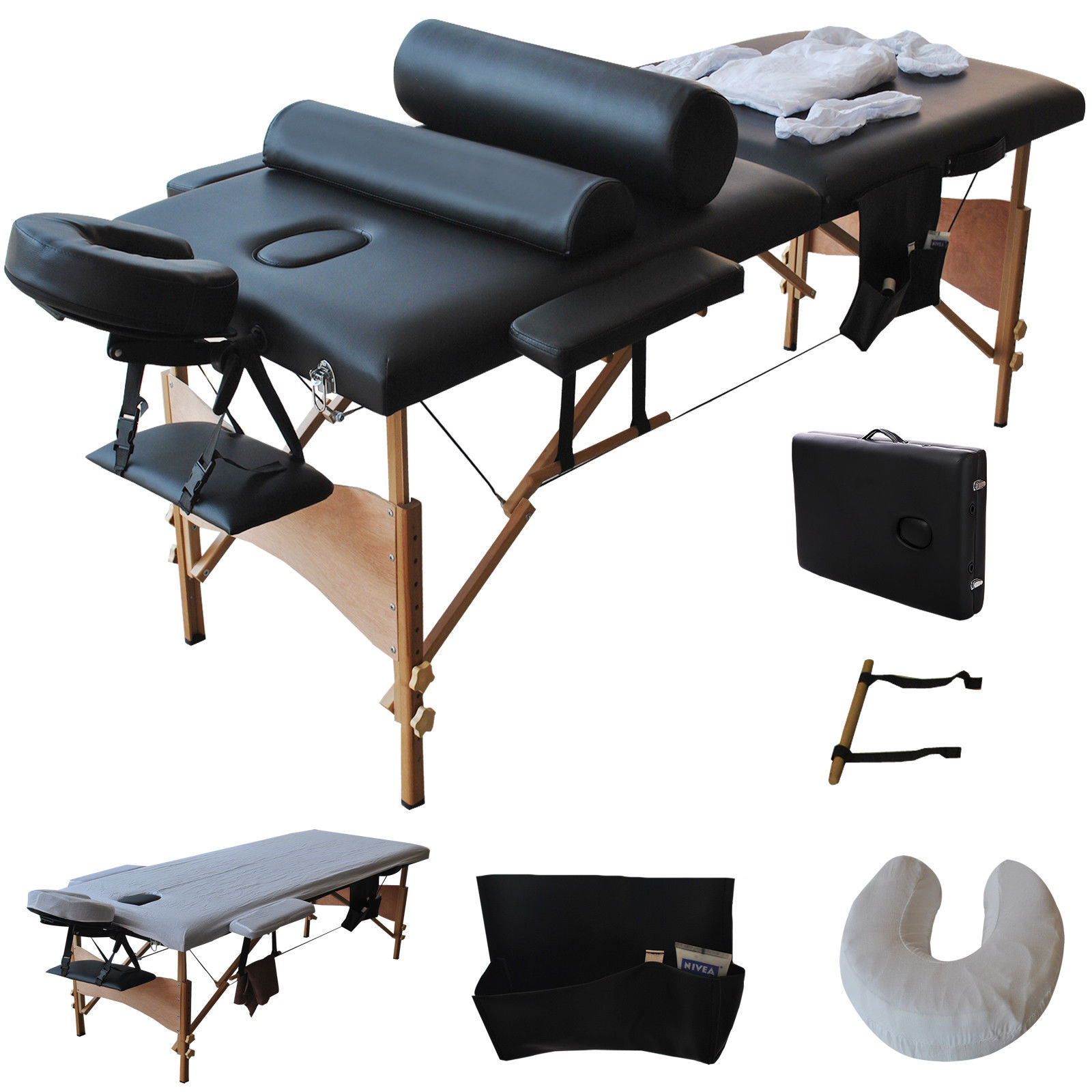 "Costway 84""l Massage Table Portable Facial SPA Bed W/sheet+cradle Cover+2 Pillows+hanger (Black)"