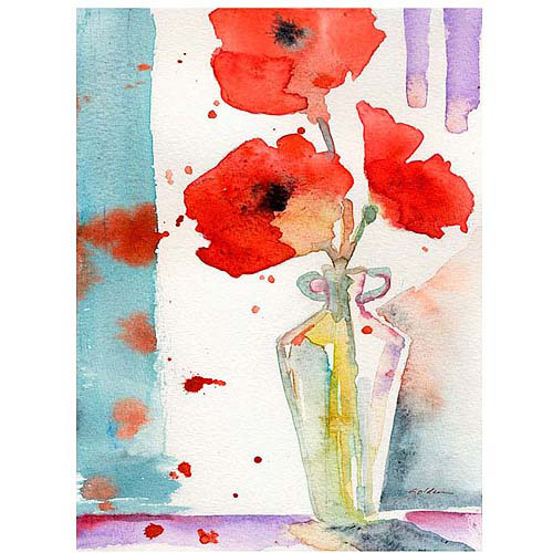 "Trademark Art ""Poppies in a Vase"" by Sheila Golden, 24x32"