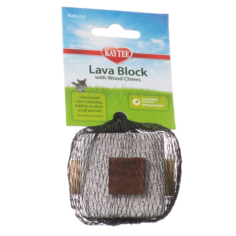 "Kaytee Lava Block with Wood Chews for Small Pets 1 Block - (2.5""L x 2.5\""W x 1.75\""H)"