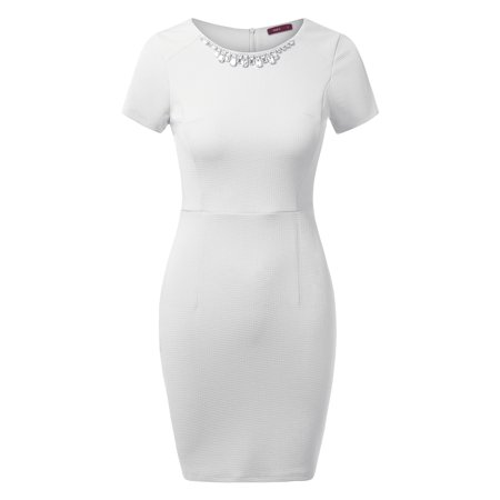 Doublju Womens Short Sleeve Bejeweled Fitted Bodycon Midi Dress