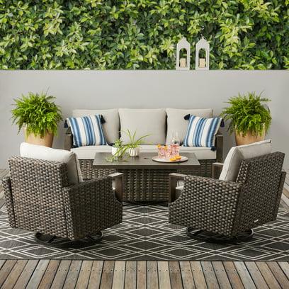 Better Homes & Gardens Sandcrest Seagrass Outdoor Wicker 4 Piece Patio Dining Room Set