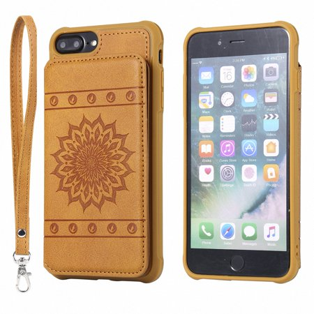 iPhone 8+ Plus/ 7+ Plus Case, Allytech Embossed Sunflower Series, [Removable Wrist Strap] Premium PU Flip Wallet Case with Card Holder Cover for iPhone 8 Plus/ iPhone 7 Plus 5.5-inch Phone, Brown