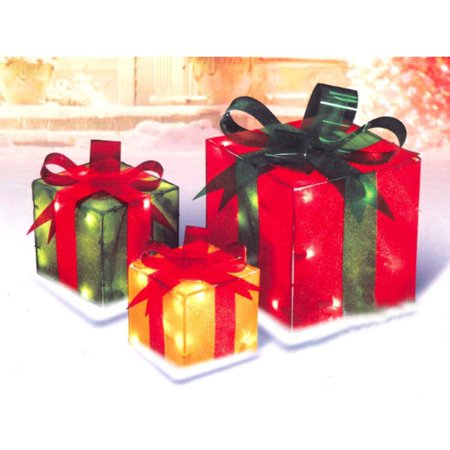 Northlight Lighted Gift Box Display - Set of 3