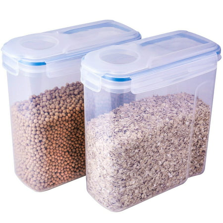 THETIS Homes Cereal Container, Watertight and Airtight Dispenser with 4 Locking Lids, 4L, 135.2 Oz - 2 Pack