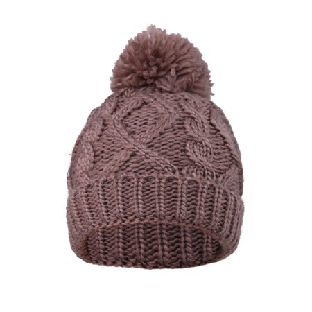 (Arctic Paw Kids' Thick Warm Cable Knit Beanie with Yarn Pompom, Dark Khaki)