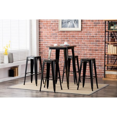 Porthos Home Bar Height (30 inch) Metal Cafe Stool for Restaurant or Home, Tolix Style, Weathered Finish, Set of 4 Stools, No Assembly Required Cafe Aluminum Bar Stool