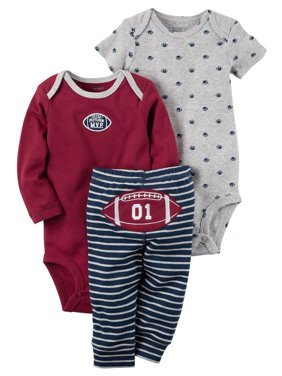 Product Image Carters Baby Boys 3-Piece Little Character Set Football M.V.P. Gray
