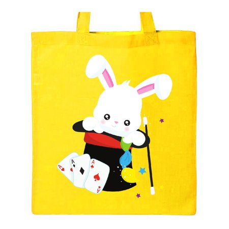 White Bunny Coming Out Of A Hat, Magic Trick Tote Bag Yellow One