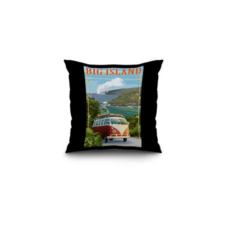 Hawaii   Big Island   Vw Van Cruise   Lantern Press Poster  16X16 Spun Polyester Pillow  Black Border