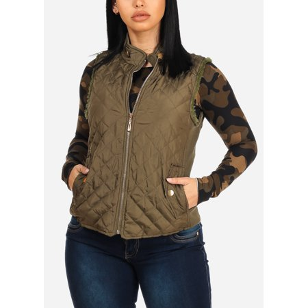 - Casual Warm Cozy Womens Juniors Olive Green Fax Fur Quilted Stand Collar Vest Jacket 40247S