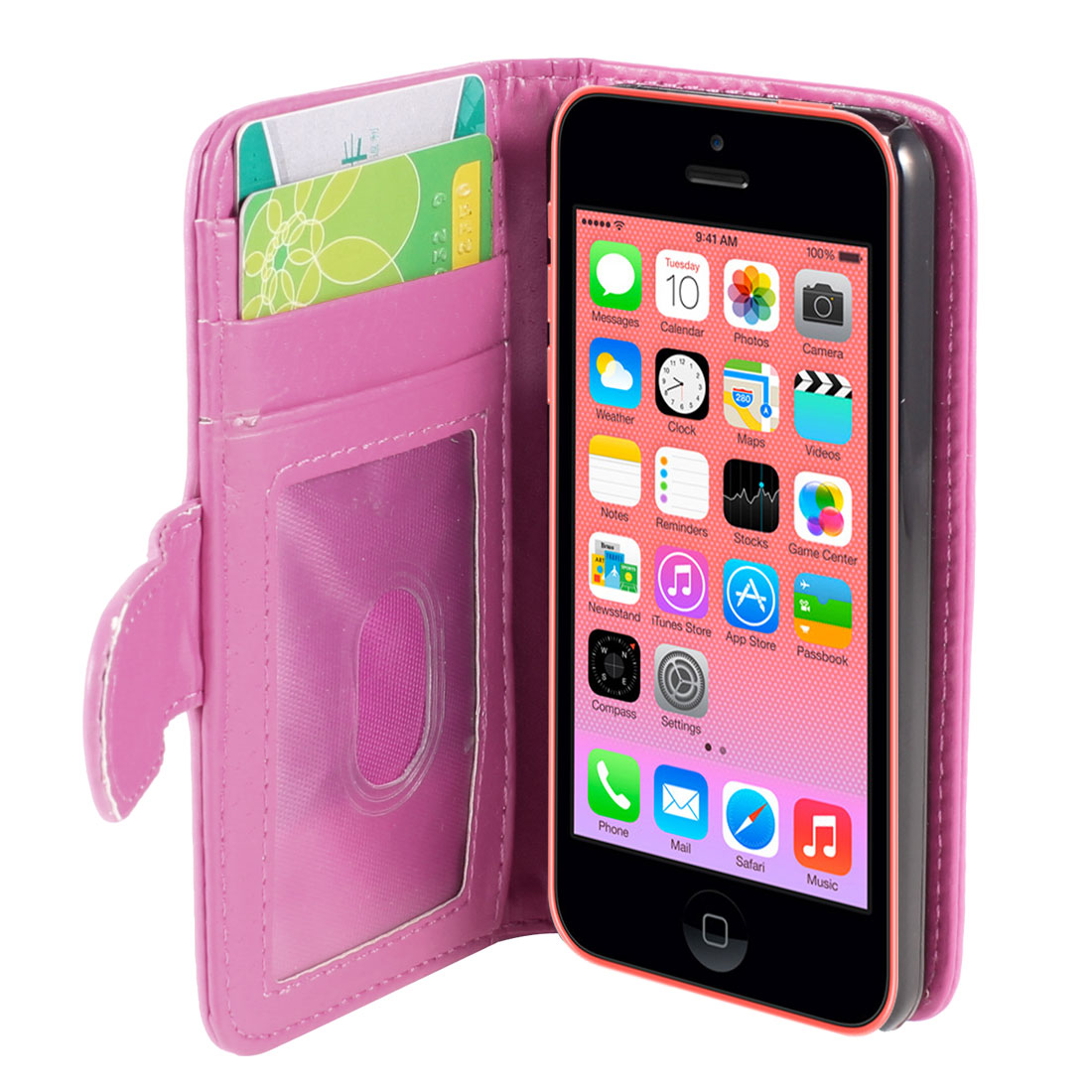 Unique Bargains Solid Fuchsia Faux Leather Stand Card Holder Flip Case Cover for iPhone 5C