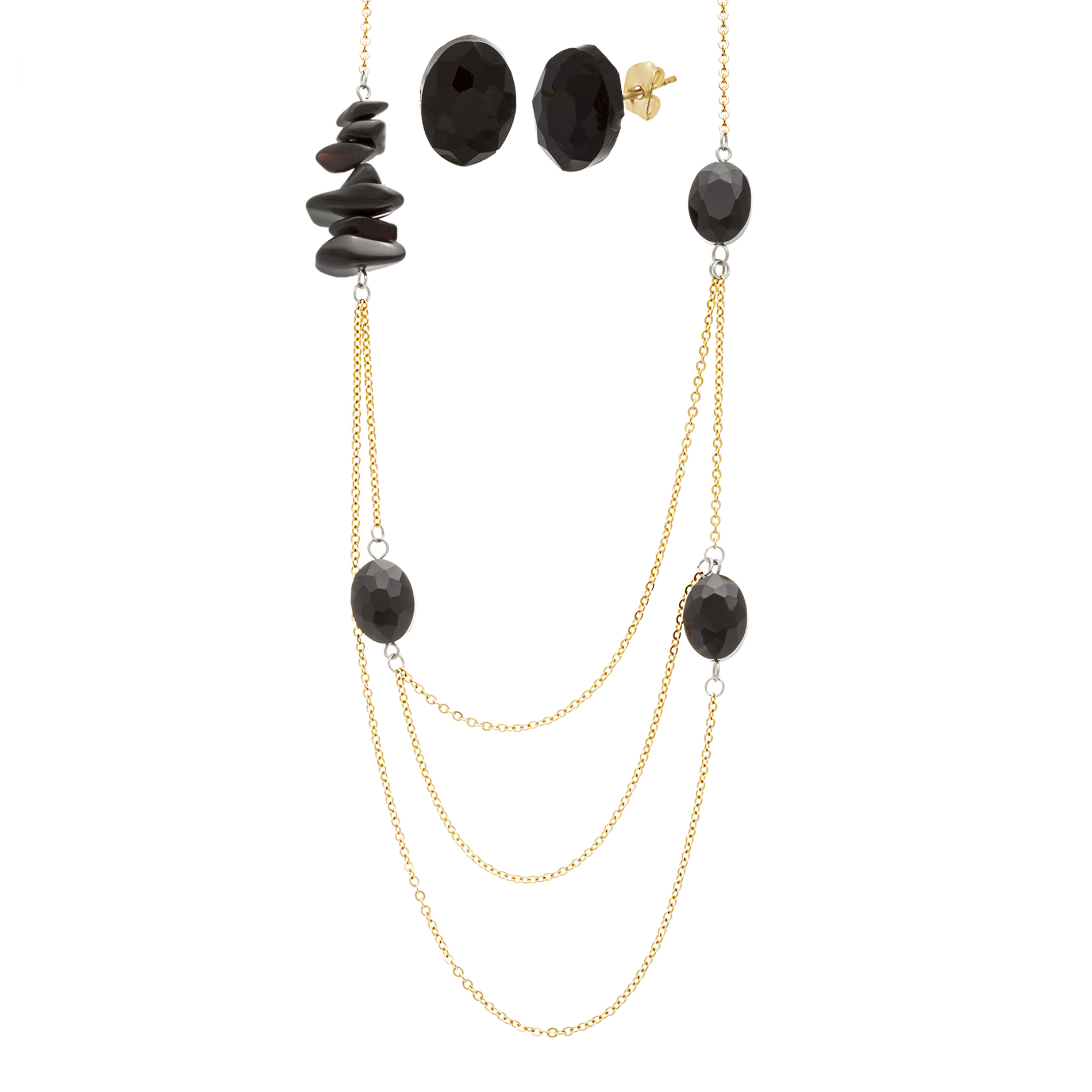 "Gold Tone Stainless Steel Black Hexagon 30"" Necklace and Earring Gift Set"