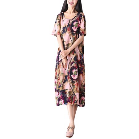 - Ladies Short Sleeve Cotton Floral Print Maxi Dress