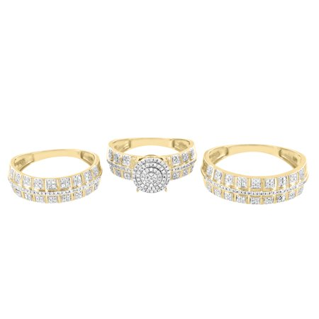 10k Yellow Gold Trio Set Wedding Ring Diamond Bridal Set Him Her 0.50 CT Engagement