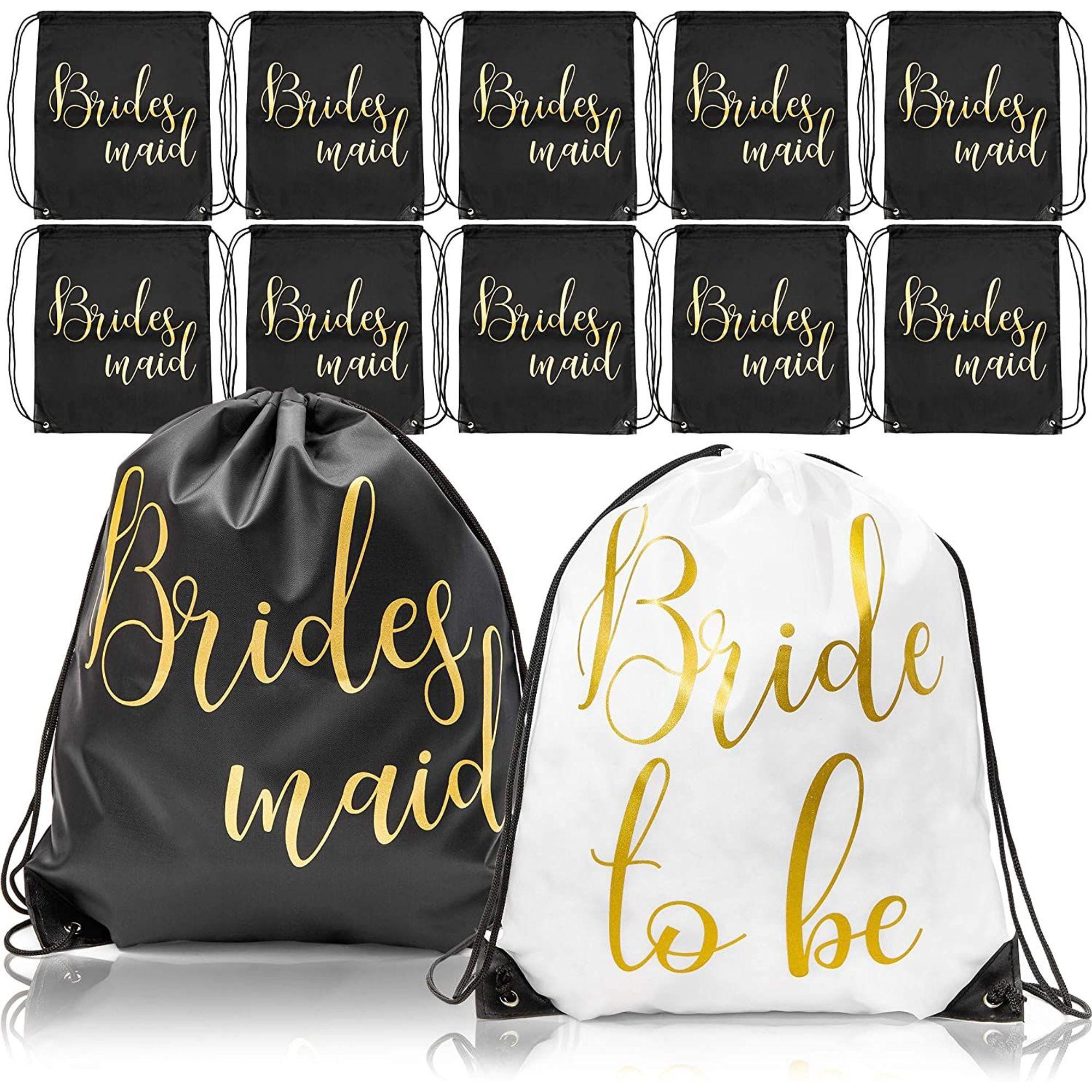 Flower Girl Bridesmaid Favour Drawstring Gift Bags Personalised Wedding Bride