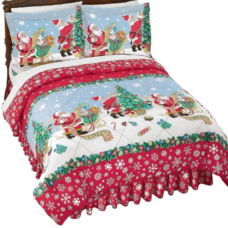 Vintage Santa With List And Presents Christmas Comforter Set With