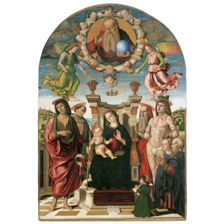 Madonna And Child Enthroned With St John Baptist Canvas Art - (18...
