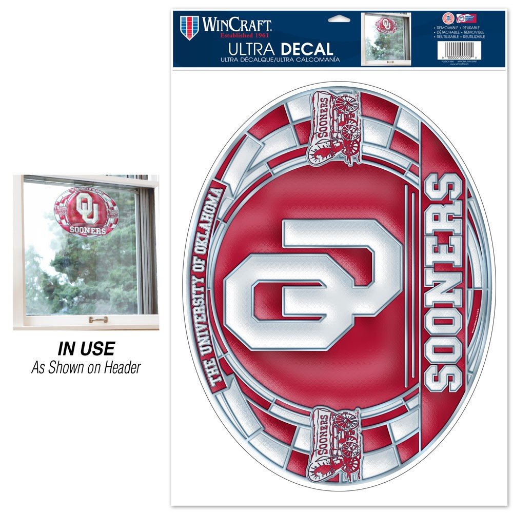 Oklahoma Sooners Official NCAA 11 inch  x 17 inch  Stained Glass MultiUse Car Decal by WinCraft