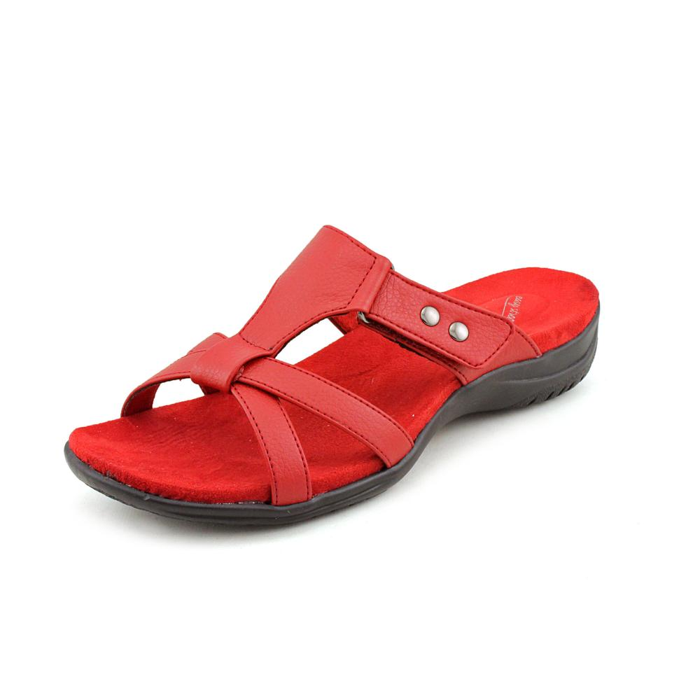 Easy Street Blaze Women Open Toe Synthetic Red Slides Sandal by Easy Street