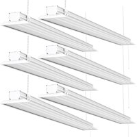 Sunco Lighting 4ft LED Shop Light Flat Clear 40W (260W) 4500lm 5000K 6 Pack