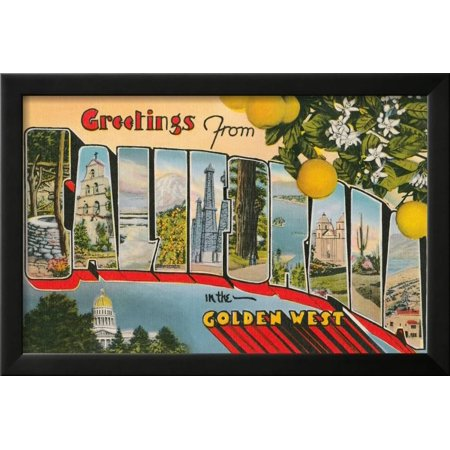 Greetings from california framed print wall art walmart greetings from california framed print wall art m4hsunfo