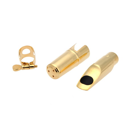 Jazz Soprano Sax Saxophone 5C Mouthpiece Metal with Mouthpiece Patches Pads Cushions Cap Buckle Gold