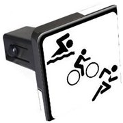 "Triathlon Swim Bike Run Sign Symbol 1.25"" Tow Trailer Hitch Cover Plug Insert"