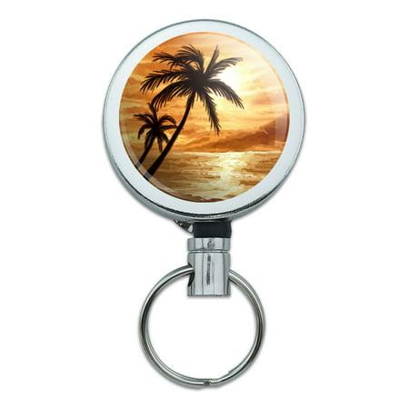 Sunset Beach Palm Tree Hawaii Paradise Orange Retractable Belt Clip Badge Key Holder