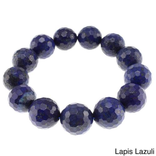 Pearlz Ocean Faceted Bead Stretch Bracelet Lapis Lazuli