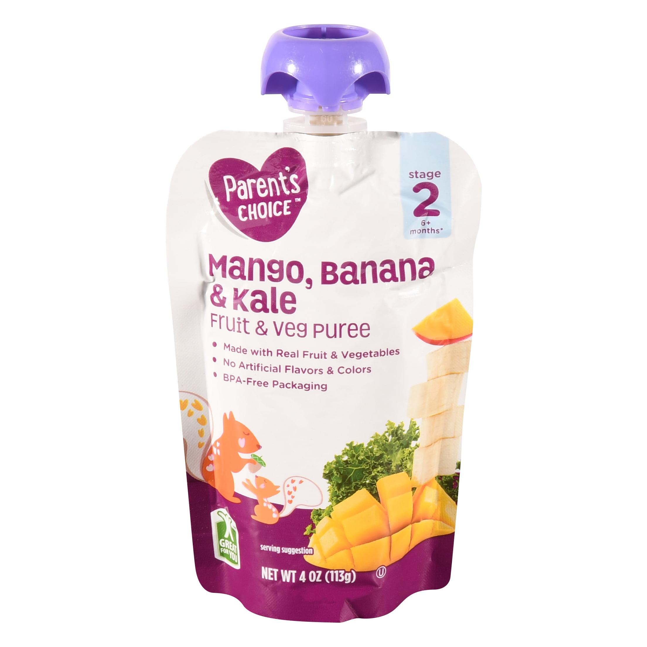 Parent's Choice Mango, Banana & Kale, Stage 2, 4 oz Pouch