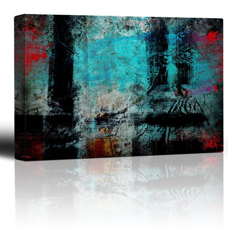 wall26 - Black Vertical and Horizontal Stripes Over an Aqua Watercolor Background - Giclee Print Abstract Canvas Wall Art Rustic Home Decor - 32x48 -