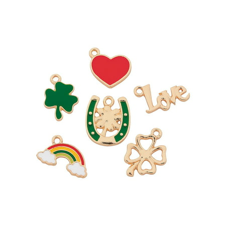 Fun Express - St Patricks Enamel Charms for St. Patrick's Day - Craft Supplies - Adult Beading - Charms - St. Patrick's Day - 12 Pieces - St Patricks Crafts