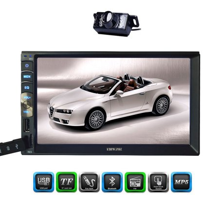 New Brand Upgarde Version 7 Inch Capacitive Touch Screen Audio (Mirror Link for GPS Android Phone) Double 2 Din Bluetooth Car Stereo In Dash Video Auto radio Without DVD Player+Rear View