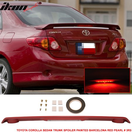 - Fits 09-13 Toyota Corolla 4Dr ABS Trunk Spoiler & 3RD LED Brake Light