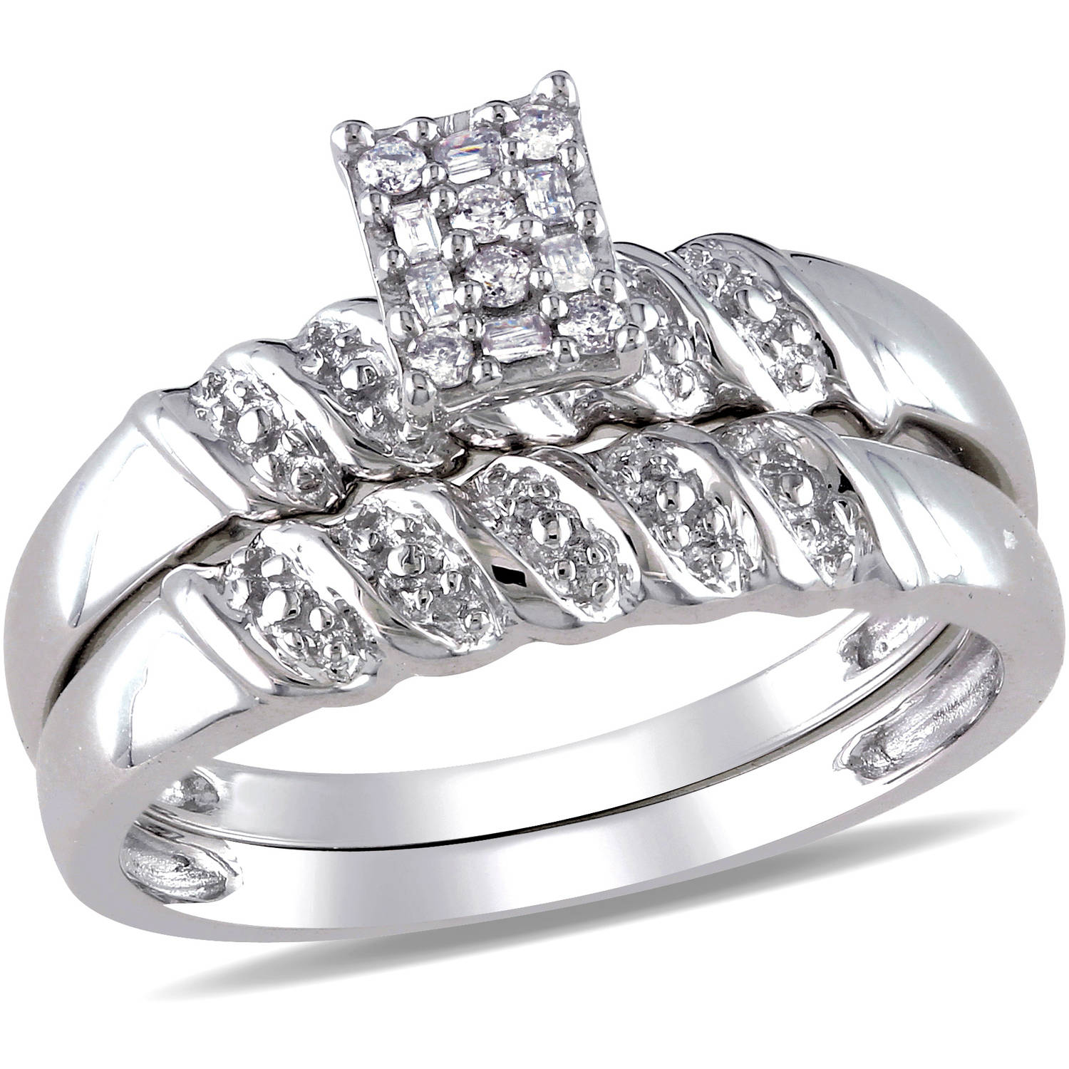 Miabella 1/10 Carat T.W. Round and Baguette-Cut Diamond Sterling Silver Bridal Set